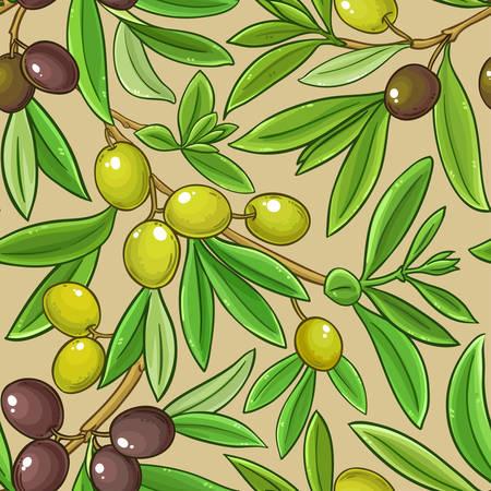 olive branches vector pattern on color background Illustration