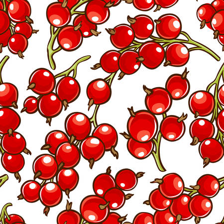 red currant berries vector patten on white background Ilustrace