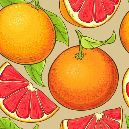 grapefruit fruits vector pattern on color backgrond