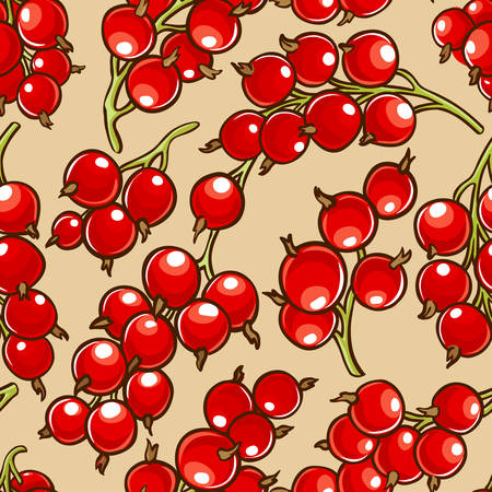 red currant berries vector patten on color background Illustration