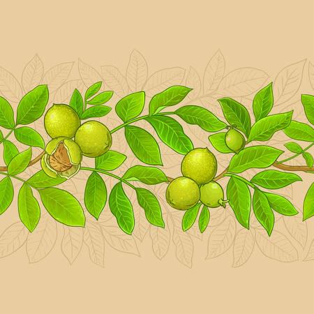 walnut branches vector pattern on color background Ilustração