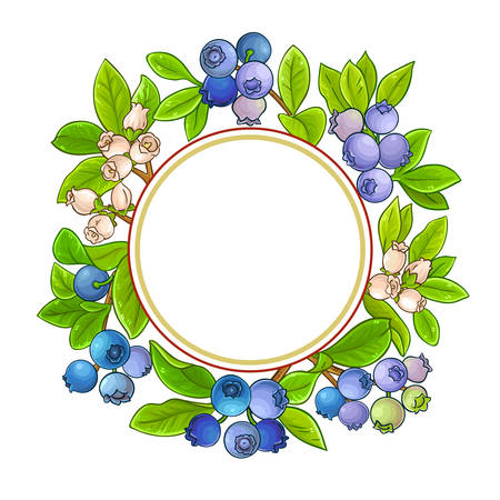 blueberry branches vector frame on white background