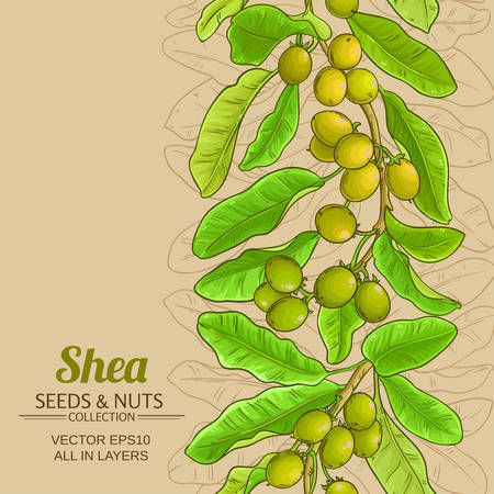 shea branches vector pattern on color background