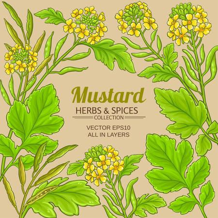 mustard vector frame on color background