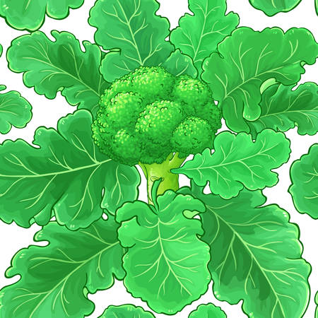 broccoli vector pattern on white background