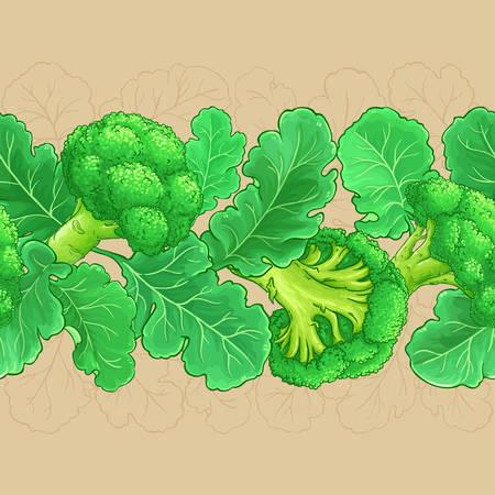 broccoli vector pattern on color background Ilustrace