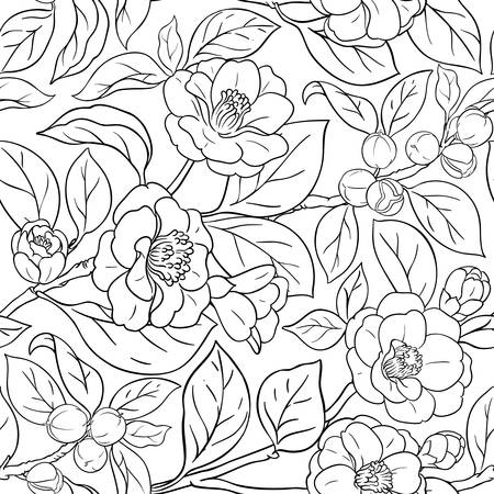 camellia vector pattern on white background