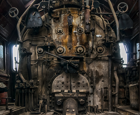 Worn furnace of the old locomotive.