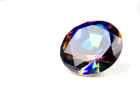 Round Mystic Topaz Isolated on White