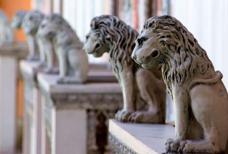 Row of lion statues from the Venitian Hotel Las Vegas