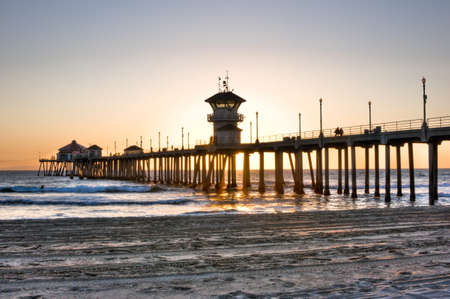 Scenic HDR landscape Huntington Beach (Surf City) pier Stock Photo