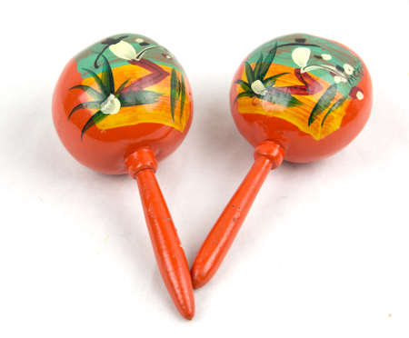 Pair Mexican hand painted maracas