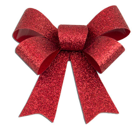 'yule tide': Red glitter Christmas present bow Stock Photo
