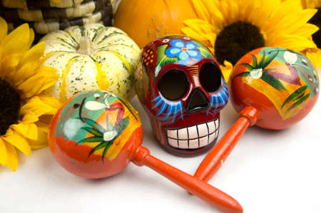 Day of the Dead skull   maracas offering