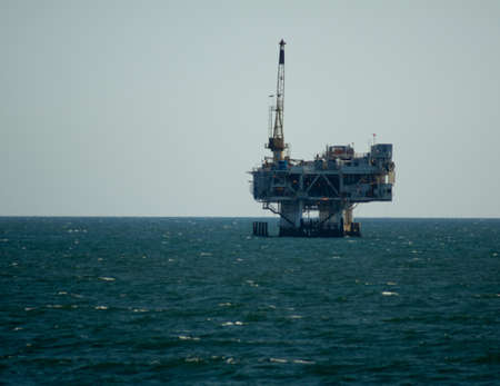 Oil platform located off shore of Huntington Beach, California Editorial