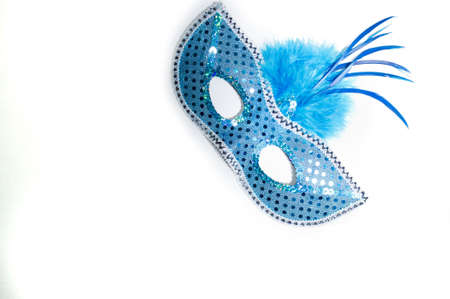 Mardi Gras mask on white background Stock Photo