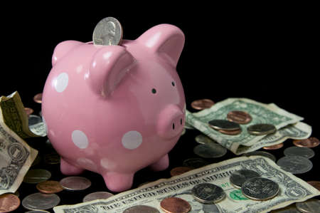 Pink polka dot piggy bank surrounded by cash and coins