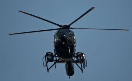 Huntington Beach Police Helicopter  HB1  in flight Stock Photo - 13946791