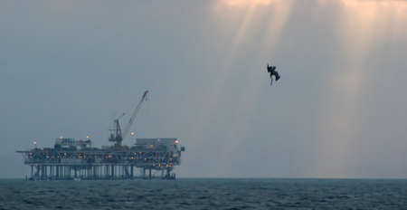 Oil platform located off shore of Huntington Beach, California Stock fotó