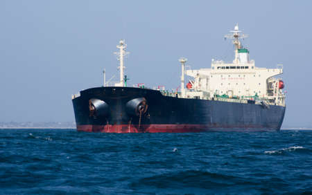 ship anchor: Cargo ship in the Pacific Ocean off the coast of California Stock Photo