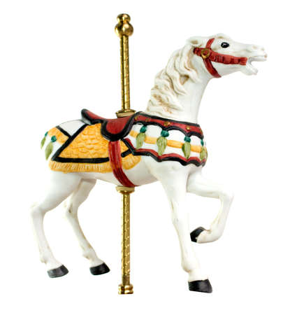 Minature Carousel Horse on white background 免版税图像 - 13946996