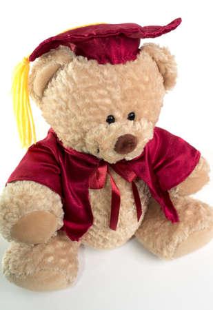 regalia: Teddy bear in red regalia and graduation cap. On white background