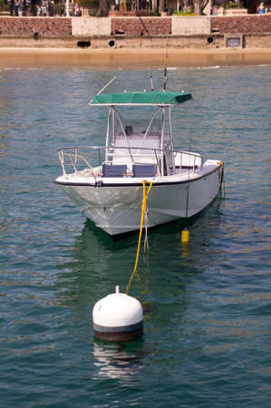 Fishing boat moored at Avalon Harbor, Catalina Island  View of bow Stock Photo