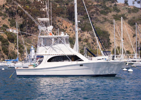 starboard: Sportfisher yacht moored at Avalon Harbor, Santa Catalina Island.  Starboard view