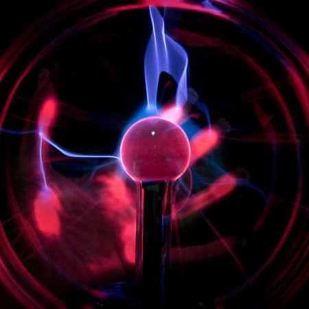 Red   blue electric plasma ball light