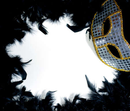 Silver & gold mardi gras mask on a bed of black feathers photo