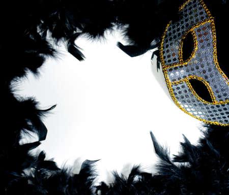 Silver & Gold mardi gras masker op een bedje van zwarte veren