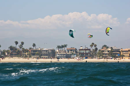Kite surfers off the shore of Long Beach, California Stock Photo - 14854324