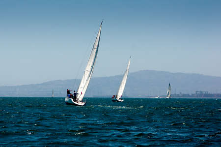 Sailboat at Long Beach Harbor Stok Fotoğraf