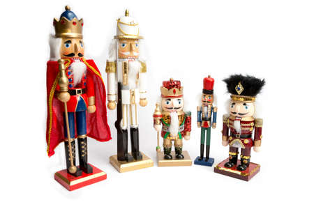 Decorative Christmas wooden nutcrackers isloated on white background photo