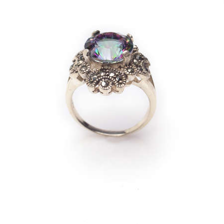 Sterling silver faceted mystic topaz round cut ring with marcasite