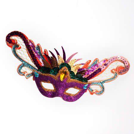 Colorful Mardi Gras mask. Isolated on white background photo