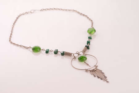 silver jewelry: Peruvian beaded necklace with green murano beads and alpaca silver Stock Photo