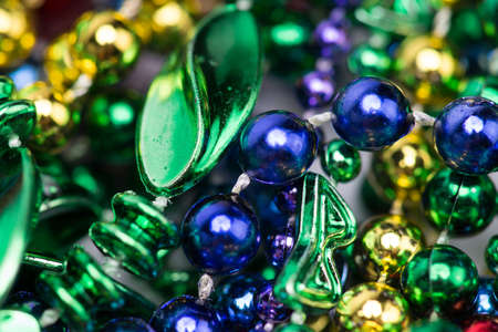 Colorful Mardi Gras background of beads photo