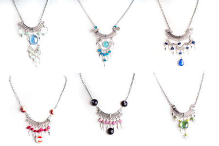 silver jewelry: Set of 6 Peruvian beaded necklaces isolated on white background