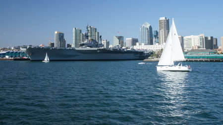 Historic aircraft carrier USS Midway in San Diego Bay, California