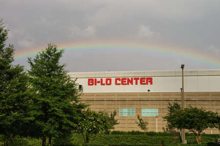 Colorful rainbow and dramatic clouds over the Bi-Lo Center in Greenville, South Carolina