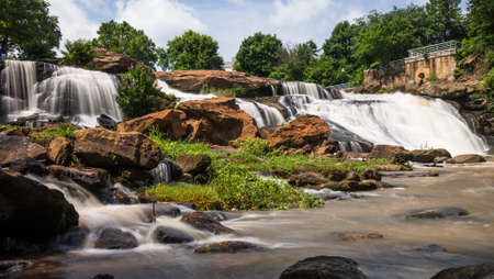 HDR image of scenic Fall Park on The Reedy River in Greenville, South Carolina Stock Photo