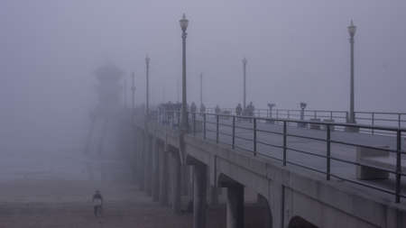 Fog covers The Huntington Beach Pier photo
