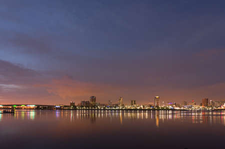 Long Beach cityscape at night Stock Photo