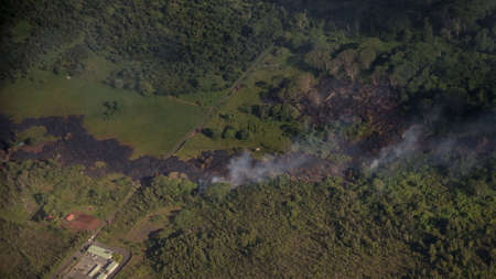 residents: Pahoa, Hawaii, USA, 28 October, 2014. Kilauea lava flow threatens residents of Hawaii. The June 27 lava flow from Poo Uu vent flows into the town of Pahoa. Editorial