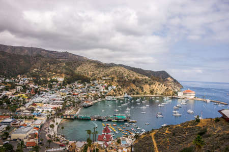 catalina: Scenic view of Avalon Bay with views of pier boats, and historic Casino Building