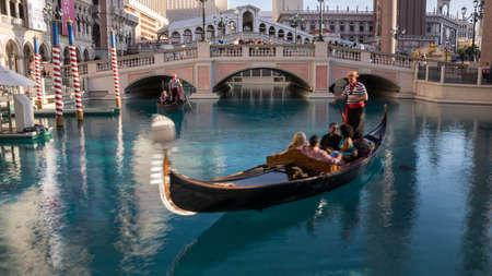 gondoliers: Las Vegas, NevadaUSA April 2015.  Gondoliers at the Venetian Hotel