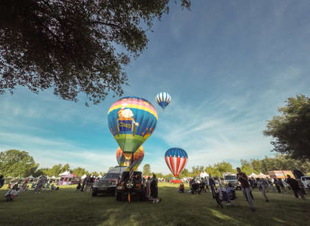 winchester: May 30th, 2015 - Winchester, California. Colorful hot air balloons in flight at The Temecula Hot Air Balloon & Wine Festival
