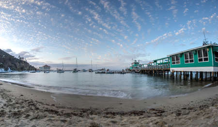 conservatory: Catalina Island, CaliforniaUSA May 2015.  Super wide angle view of Avalon Harbor with scenic view of bay, pier, boats, and historic Casino Building