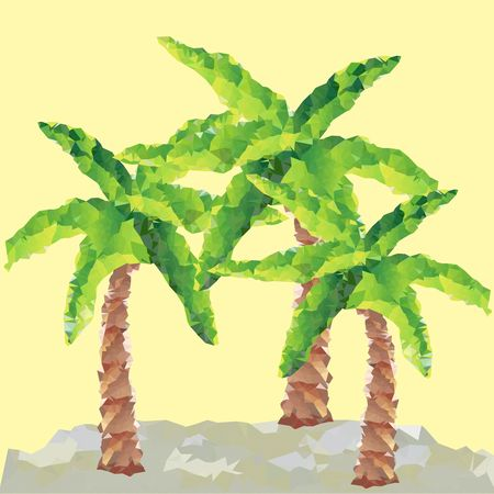 syn: Vector polygon palms trees with syn background
